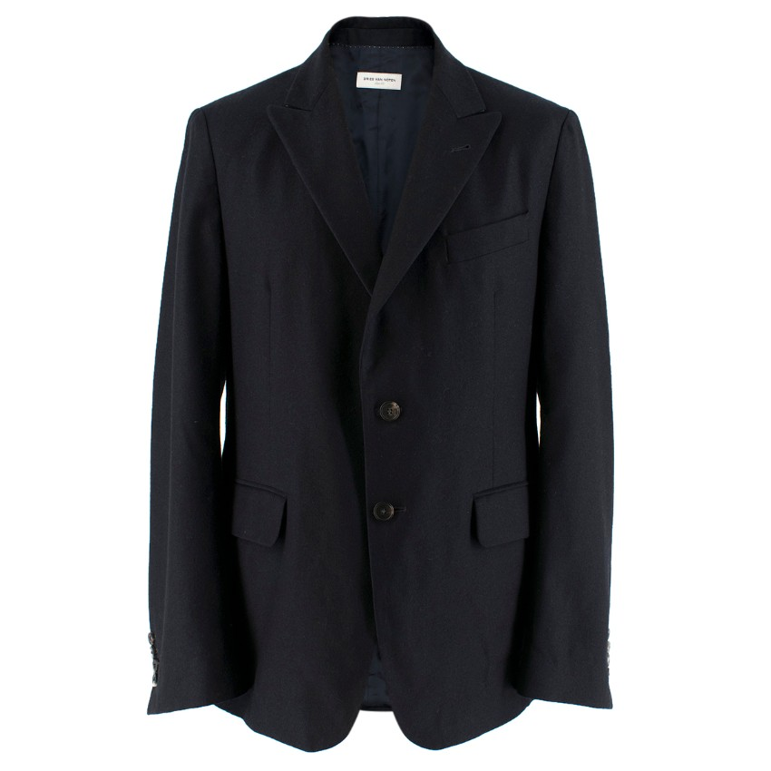 Dries Van Noten Navy Wool and Cashmere