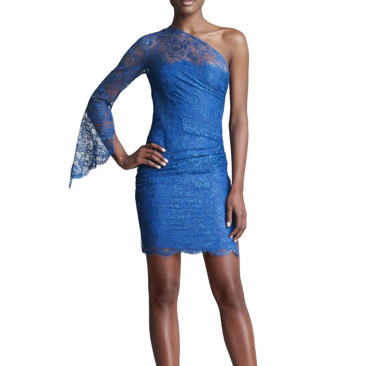 Emilio Pucci Blue One-Shoulder Lace Dress