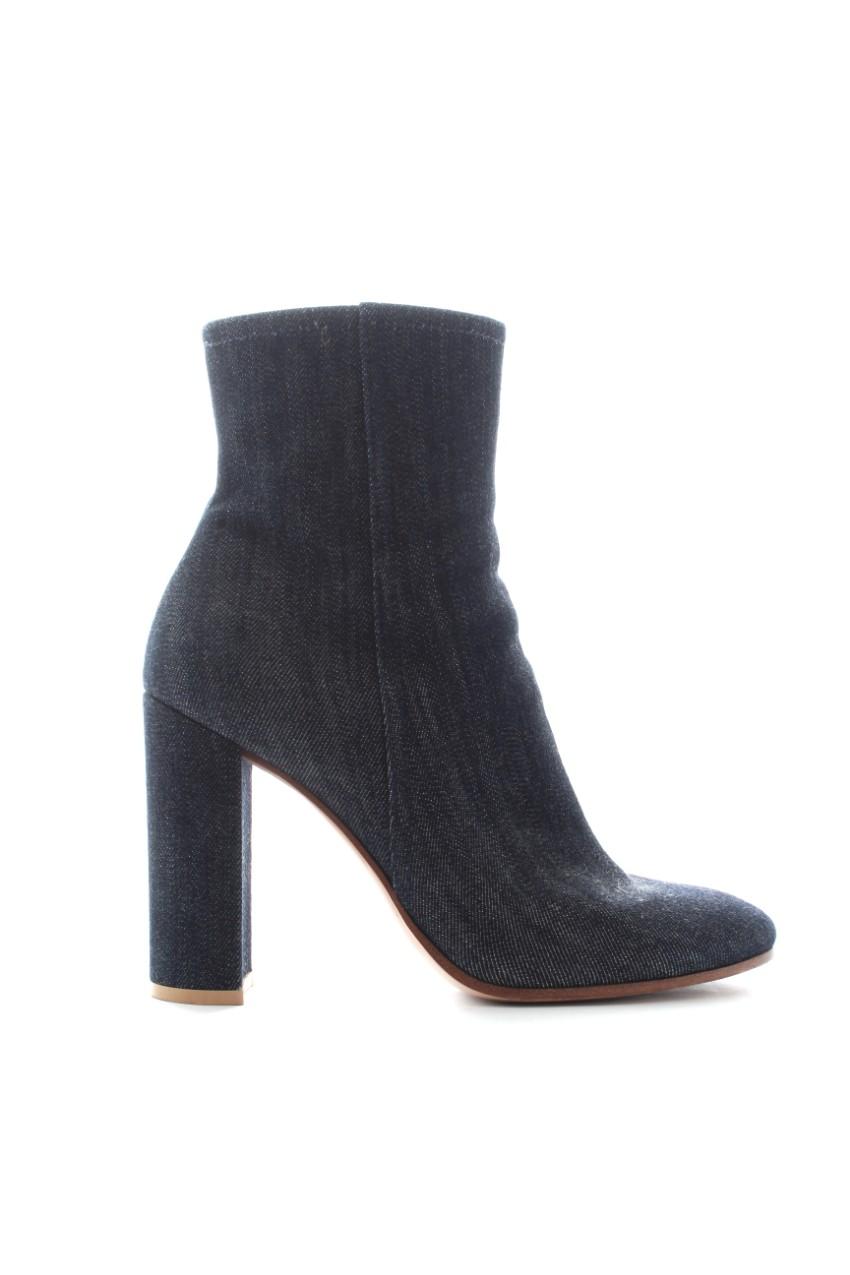 Gianvito Rossi Block Heel Dark Denim Ankle Boots