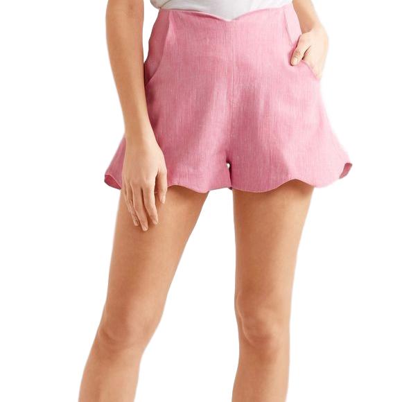 Paper London Fraise Scalloped Linen Shorts