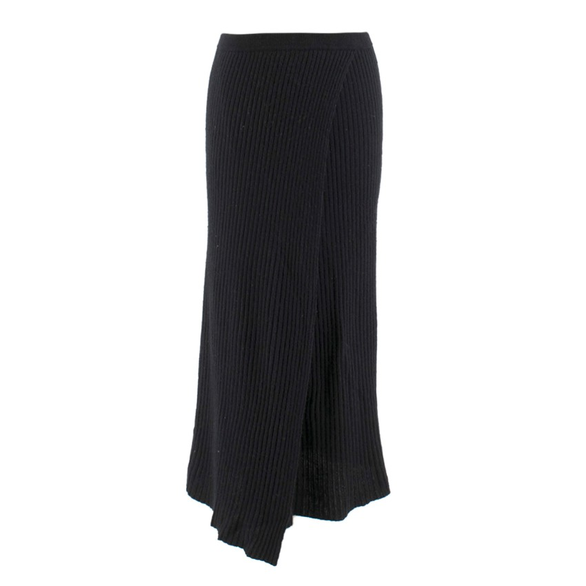 Madeleine Thompson Black Wrap Knit Skirt