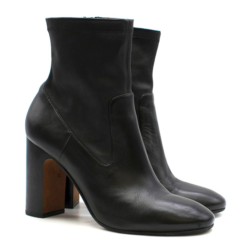 Vince Black Stretch Leather Ankle Boots