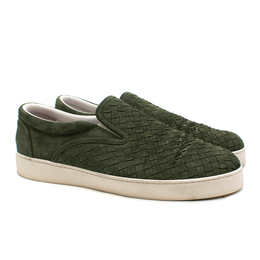 Bottega Veneta Green Intrecciato Suede Dodger Sneaker - Current Season
