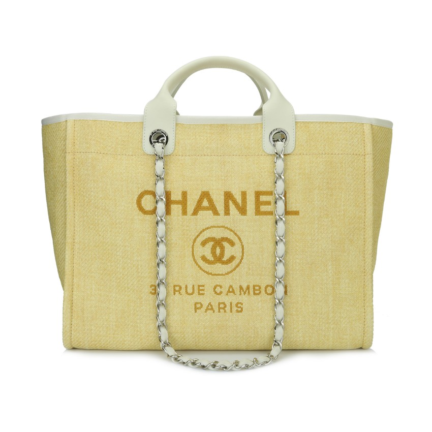 Chanel Yellow Canvas Deauville Large Tote