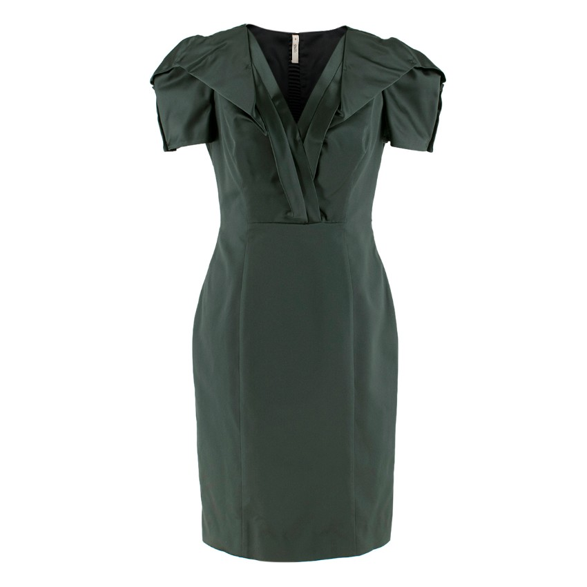 Prada Green Duchess-Satin Dress