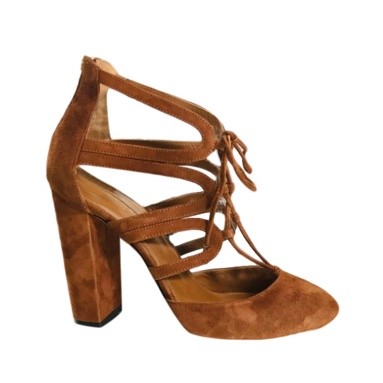 Aquazzura Tan Suede Block-Heel Pumps