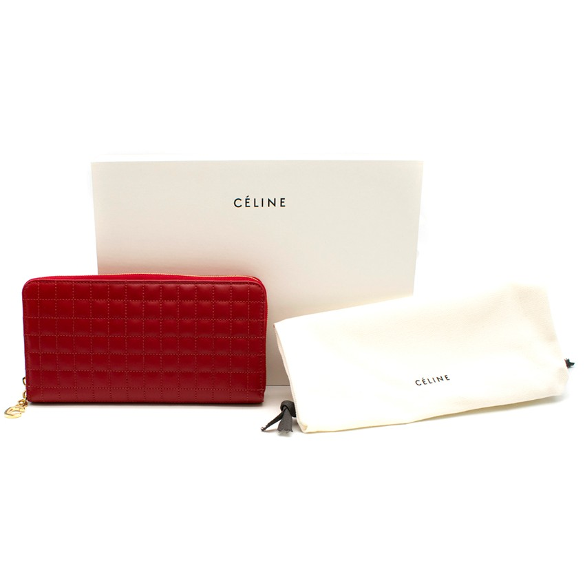 Celine Red C Charm Large Zipped Quilted Wallet - Current Season