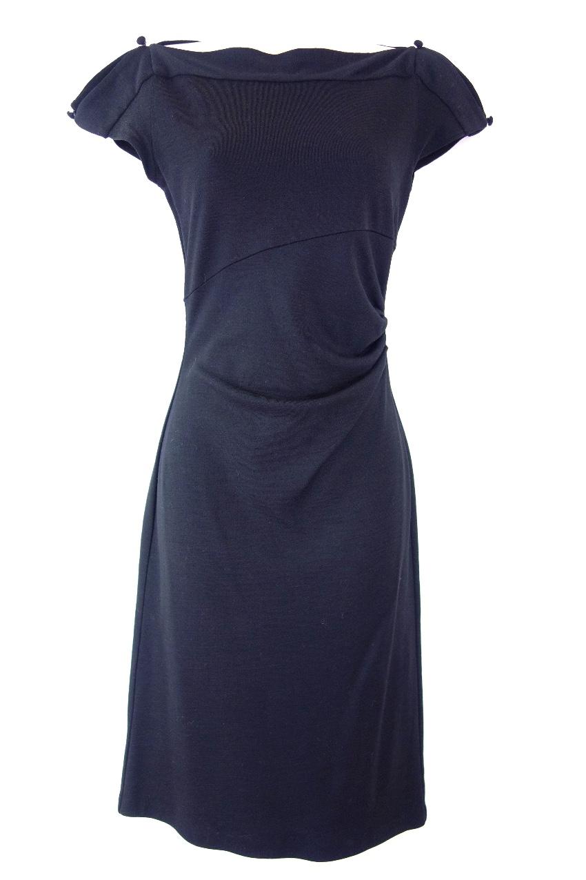 Diane Von Furstenberg Wool Draped Navy Dress