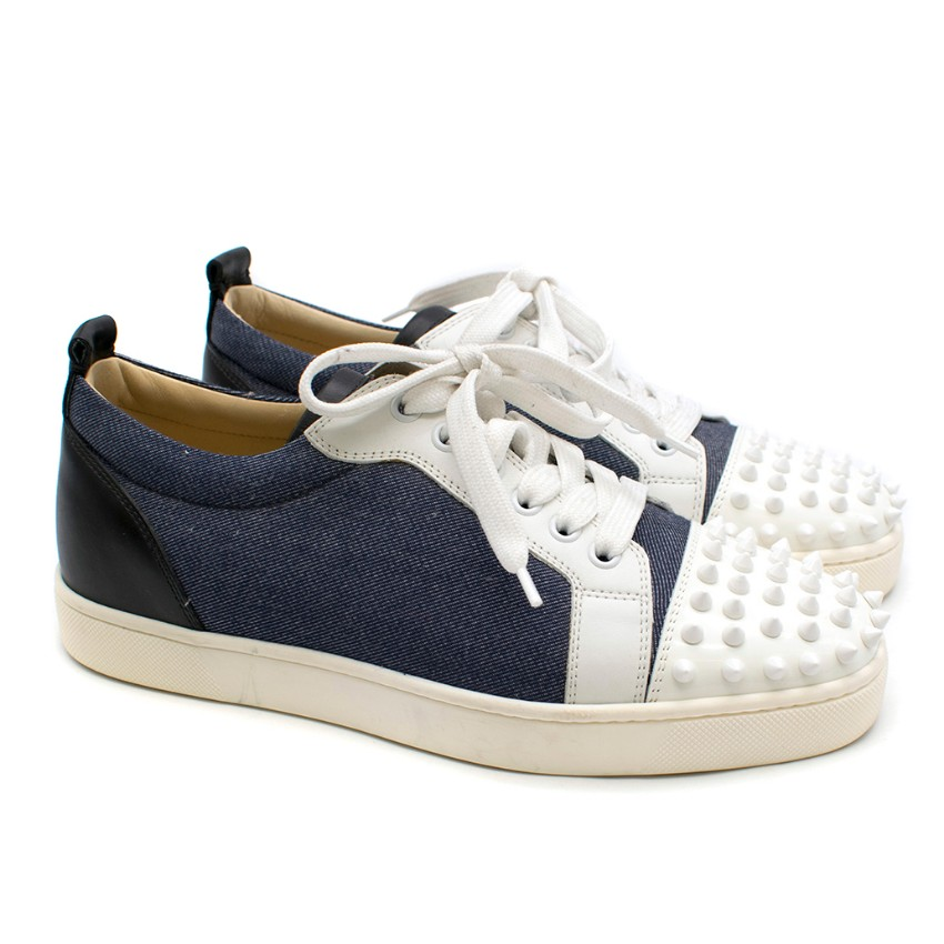 Christian Louboutin Louis Jr Spikes Denim & Leather Sneakers