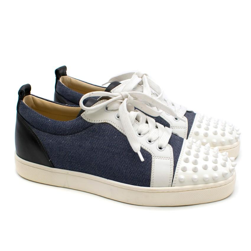 Christian Louboutin Louis Jr Spikes Denim & Leather Sneakers