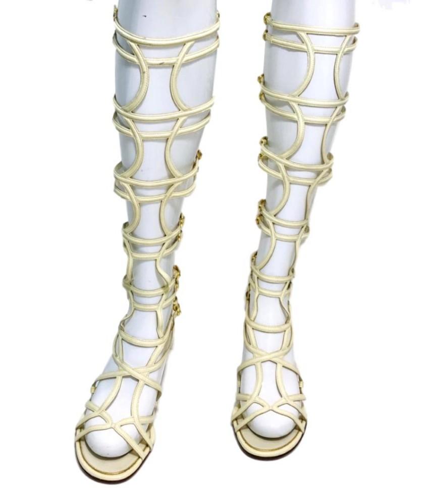 Chanel Leather Gladiator Sandals