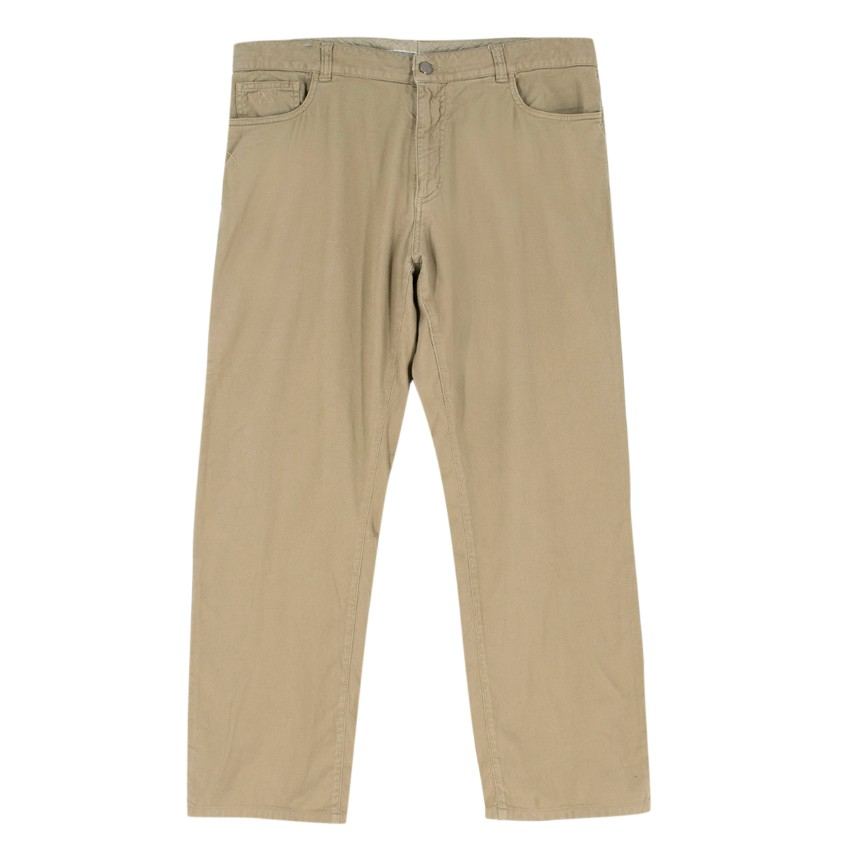 Canali Khaki Straight-leg Basket-Weave Trousers