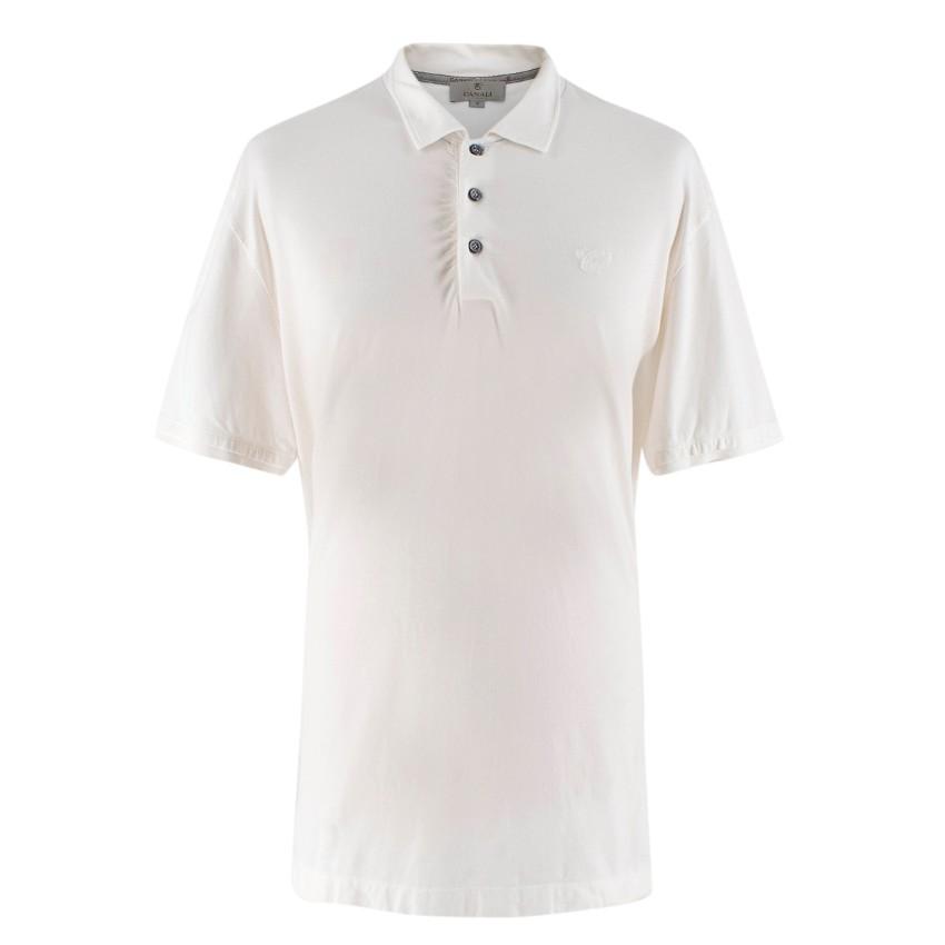 Canali Men's White Cotton Polo Shirt