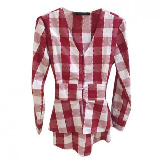 Walter Baker red check long sleeved  top