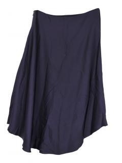 Lanvin Navy High Low Skirt
