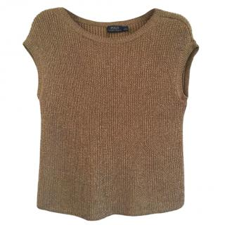 Polo Ralph Lauren Gold Knit Sleeveless Top