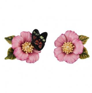 Les Nereides Oriental Rose Pink Flower and Butterfly Earrings