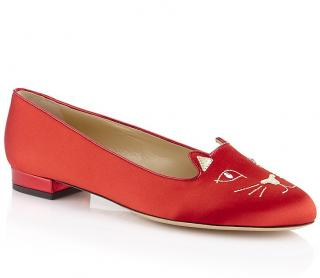 Charlotte Olympia Satin Kitty Flat in Red