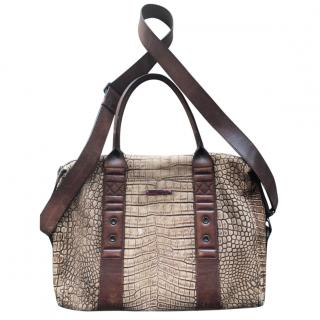 Roberto Cavalli Croc Embossed Laptop Bag