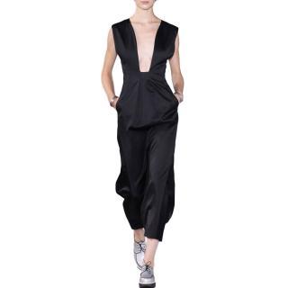 Jil Sander Deep-Cut Bust Black Sport-Luxe Dress