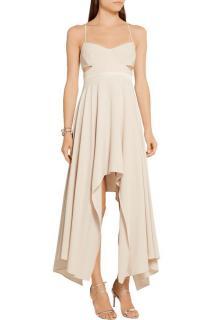 Halston Cutout satin-trimmed stretch-crepe dress
