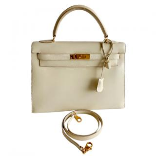 Hermes vintage ivory box leather kelly bag