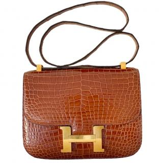Hermes Honey Crocodile Leather Constance 23