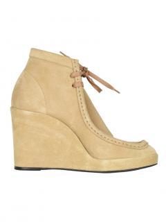 Balenciaga lace-up wedge suede boots