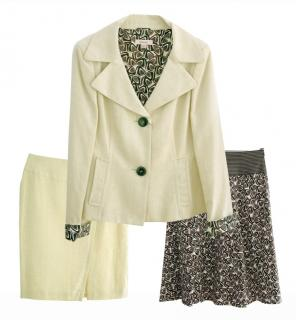 Laurel cream linen skirt suit