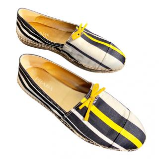 Prada Striped-Satin Espadrilles