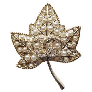 Chanel Crystal-Embellished Leaf Brooch