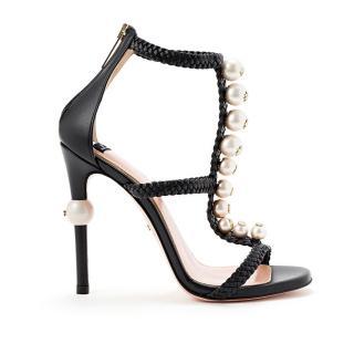 Elisabetta Franchi Pearl Embellished Leather Sandals