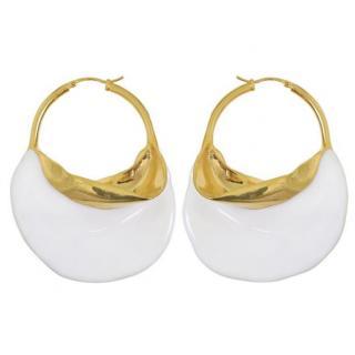 Celine Gold Plated Enamel Hoop Earrings