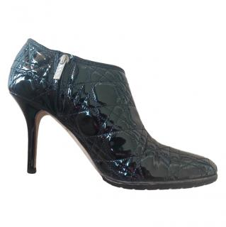 Christian Dior Quilted Patent Leather Ankle Boots