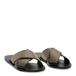 Ancient Greek Studded Leather Slides