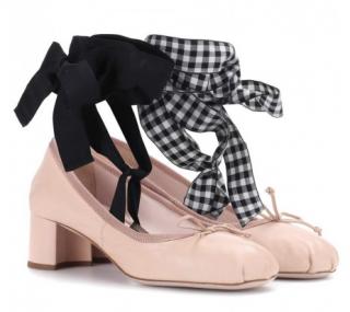 Miu Miu Mid-Heel Ribbon Tie Ballerina Pumps