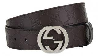 Gucci 90cm Dark Brown Guccisima Belt