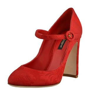 Dolce & Gabbana Red Silk Mary-Jane Pumps