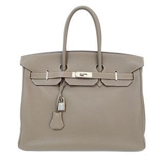 online retailer 5be94 29913 Hermes Etoupe 35cm Togo Leather Birkin