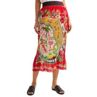 Anna Sui Florida Plisse Printed Silk Midi Skirt