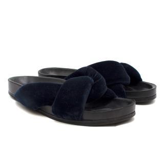 Chloe Navy Nolan Velvet Slide Sandals