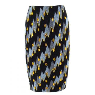 Kenzo Abstract Jacquard Rhinestone Embellished Wool Skirt