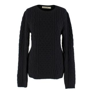 Christian Dior Black Cable Knit Wool Sweater