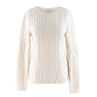 Christian Dior Off-White Cable Knit Wool Sweater