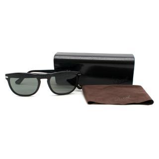 Persol Black Frame Green Polarized Sunglasses