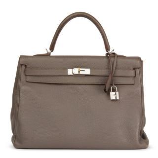 Hermes Togo Leather Etain 35cm Kelly Retourne