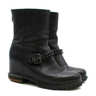 Fendi Black Joan Studded Moto Boots