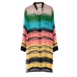 Dries Van Noten Multi-coloured Sheer Silk Shirt Dress