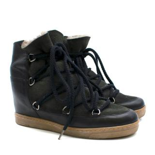 Isabel Marant Black Nowles Fur-Lined Wedge Snow Boots