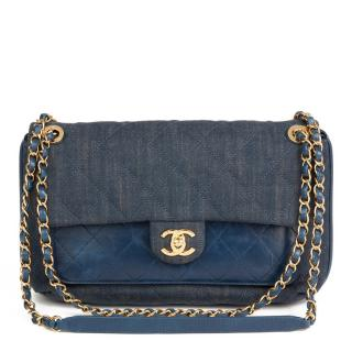 Chanel Denim & Leather Blue Classic Flap Bag